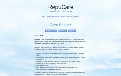 Screenshot of Case Studies Page repucare.com - Case Studies - Repucare - captured Sept. 17, 2014