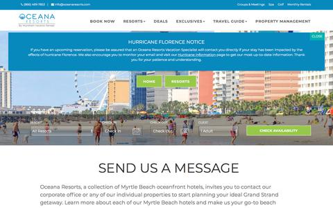 Screenshot of Contact Page oceanaresorts.com - Contact Oceana Resorts - Wyndham Vacation Rentals - captured Sept. 20, 2018