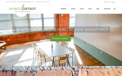 Screenshot of Home Page bamboodetroit.com - Bamboo Detroit : Coworking Space in Downtown Detroit - captured Jan. 21, 2015