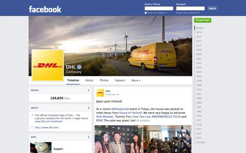 Screenshot of Facebook Page facebook.com - DHL | Facebook - captured Oct. 26, 2014
