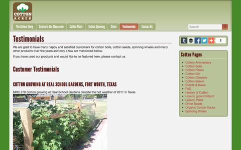 Screenshot of Testimonials Page cottonacres.com - Testimonials from clients of Cotton Acres - captured Dec. 12, 2015