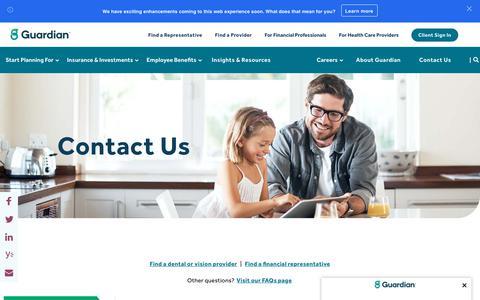Screenshot of Contact Page guardianlife.com - Contact Us | Guardian - captured Oct. 3, 2019