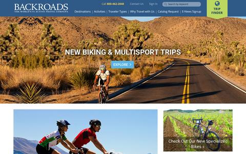 Screenshot of Home Page backroads.com - Backroads Active Travel: Bike Tours, Walking & Family Vacations - captured Oct. 1, 2015