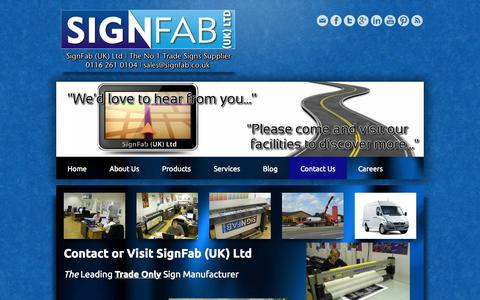 Screenshot of Contact Page Pricing Page signfab.co.uk - Contact us | trade signs | built up letters | 3D built up letters | flat cut letters | light boxes - SignFab (UK) Ltd  Trade Signs Supplier  0116 261 0104 | sales@signfab.co.uk | Leicester - captured Oct. 26, 2014