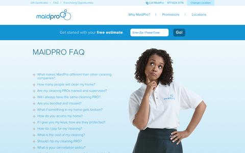 Screenshot of FAQ Page maidpro.com - Cleaning Service Rates | MaidPro FAQ - captured Sept. 19, 2014