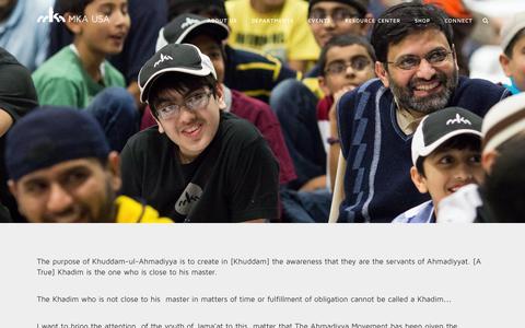 Screenshot of About Page mkausa.org - Majlis Khuddamul-Ahmadiyya USA |   About Us - captured Sept. 30, 2014