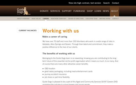 Screenshot of Jobs Page guidedogs.org.au - Working with us –       GuideDogs SA/NT - captured Oct. 3, 2014