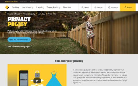 Screenshot of Privacy Page commbank.com.au - Learn about our Privacy Policy - CommBank - captured Dec. 14, 2016