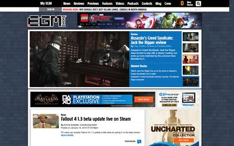 Screenshot of Home Page egmnow.com - EGMNOW - Video games, Gaming News, Video Game Reviews, Video Game Previews & Game Trailers and Random Geekery - captured Jan. 17, 2016