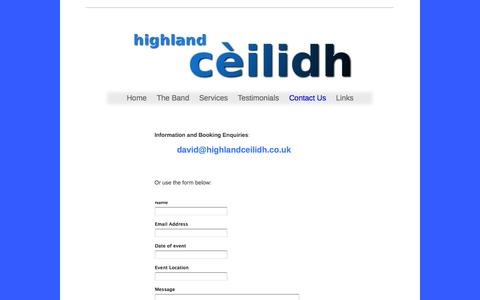 Screenshot of Contact Page highlandceilidh.co.uk - Contact Us - captured Sept. 30, 2014