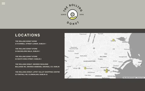 Screenshot of Locations Page therollingdonut.ie - Locations —  The Rolling Donut - captured Sept. 21, 2018