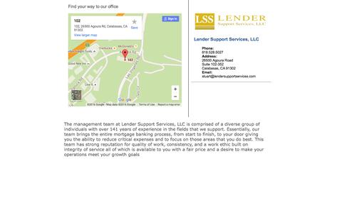 Screenshot of About Page lendersupportservices.com - about us - captured Jan. 28, 2016