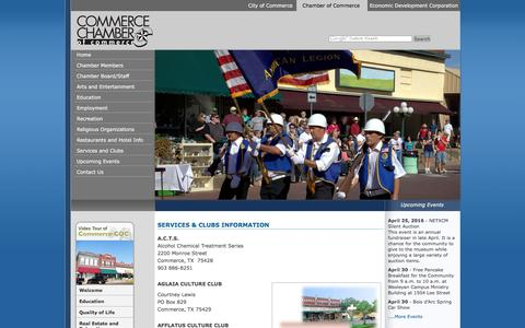 Screenshot of Services Page commerce-chamber.com - Commerce, Tx - Chamber of Commerce - captured April 17, 2016