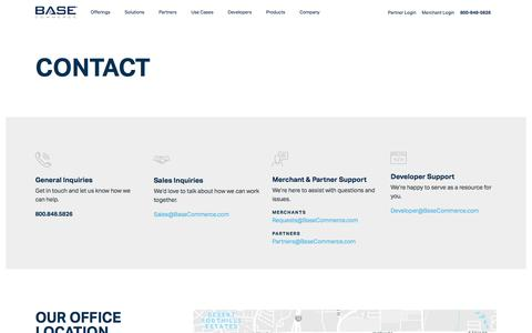 Screenshot of Contact Page basecommerce.com - Base Commerce – Payment Processing Company - captured April 19, 2018