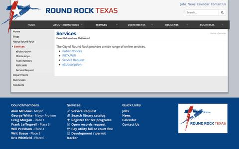 Screenshot of Services Page roundrocktexas.gov - Services - City of Round Rock - captured Jan. 27, 2016