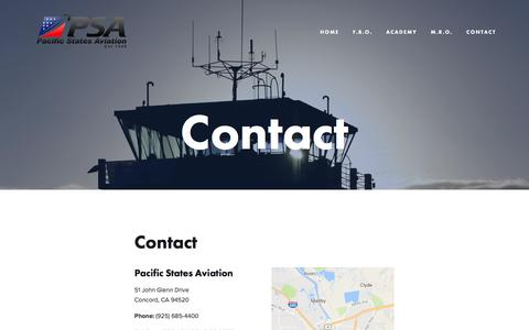 Screenshot of Contact Page psa.aero - Contact — Pacific States Aviation - captured Oct. 17, 2016