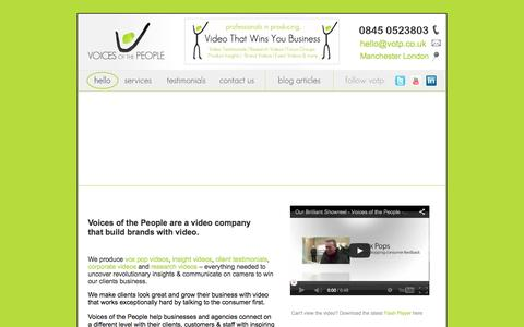 Screenshot of Home Page voicesvideo.co.uk - Voices Of The People - Market Research Video Specialists, Video Testimonials, Vox Pop Interviews, Corporate Videos - London Manchester - captured Oct. 7, 2014