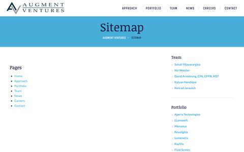 Screenshot of Site Map Page augmentventures.com - Sitemap   Augment Ventures - captured July 31, 2018