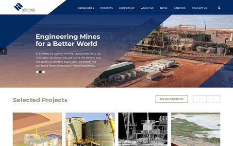 Screenshot of Home Page mintrex.com.au - Mintrex Pty Ltd - Engineering Consultancy Perth - Mining and Minerals - captured Sept. 21, 2018