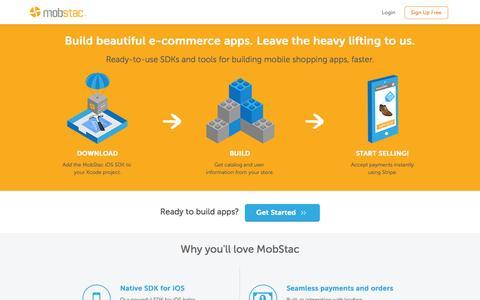 Screenshot of Signup Page mobstac.com - Mobile Commerce app platform for iOS & Magento developers | MobStac - captured Sept. 16, 2014