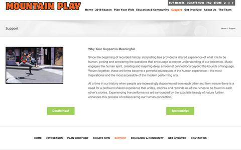 Screenshot of Support Page mountainplay.org - Support - Mountain Play Outdoor Theatre Adventure - captured Oct. 18, 2018