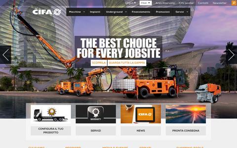 Screenshot of Home Page cifa.com - Betoniere e Pompe Autocarrate Cifa: scopri tutta la gamma Cifa - captured Sept. 26, 2014