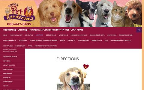 Screenshot of Maps & Directions Page karlaspets.com - Directions to Karla's Pet Rendezvous (Karla's Pets)Dog Boarding – Grooming – Training   Rt. 16, Conway, NH   603-447-3435   OPEN 7 DAYS - captured Nov. 27, 2016