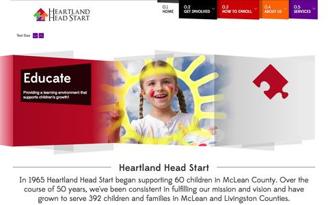 Screenshot of Home Page heartlandheadstart.org - Heartland Head Start   Home - captured July 21, 2015
