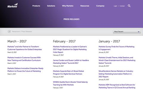 Screenshot of Press Page marketo.com - Press Releases - captured March 27, 2017