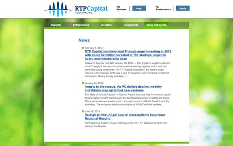 Screenshot of Press Page rtpcapital.org - News - captured Oct. 7, 2014
