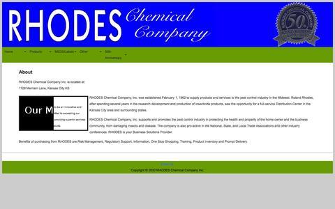 Screenshot of About Page rhodeschem.com captured Oct. 26, 2014