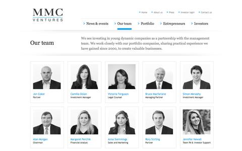 Screenshot of Team Page mmcventures.com - MMC                Our Team - captured Nov. 2, 2014