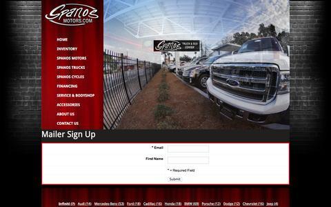 Screenshot of Signup Page spanosmotors.com - signup - Spanos Motors - captured Jan. 11, 2016