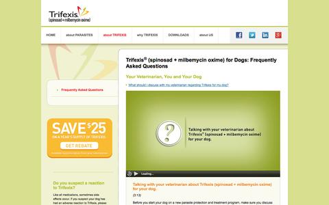 Screenshot of FAQ Page trifexis.com - Trifexis for Dogs FAQs   Trifexis (spinosad + milbemycin oxime) - captured Oct. 30, 2014