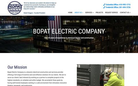Screenshot of About Page bopatelectric.com - Our History - Columbia, Frederick, Ellicott City | BOPAT Electric - captured Oct. 5, 2018