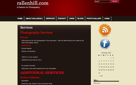 Screenshot of Services Page rallenhill.com - Services | rallenhill.com - captured Dec. 20, 2018