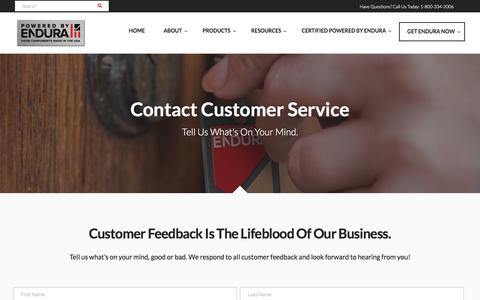 Screenshot of Support Page enduraproducts.com - Contact Endura Products Customer Service Team | Powered by Endura - captured July 19, 2018