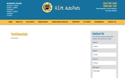 Screenshot of Testimonials Page hemautoparts.com - Testimonials | H.E.M. Auto Parts - captured Nov. 4, 2018
