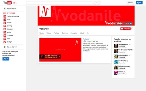 Screenshot of YouTube Page youtube.com - Vodanile  - YouTube - captured Oct. 26, 2014