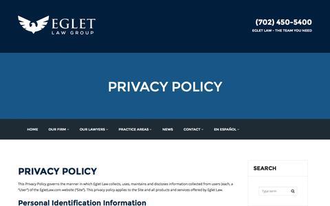Screenshot of Privacy Page egletlaw.com - PRIVACY POLICY - egletlaw.com - captured Nov. 1, 2014