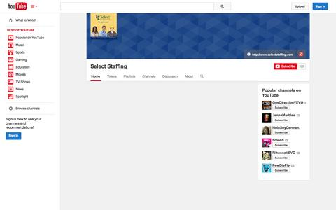 Screenshot of YouTube Page youtube.com - Select Staffing  - YouTube - captured Oct. 26, 2014