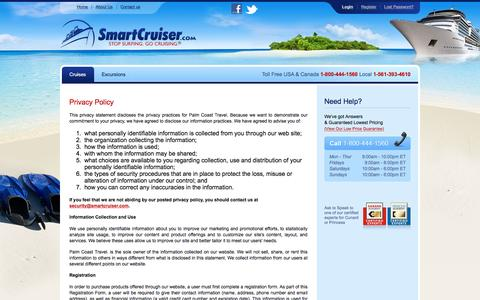 Screenshot of Privacy Page smartcruiser.com - SmartCruiser — A Discount Cruise Site featuring Discount Cruises and Cruise Deals - captured Nov. 30, 2016
