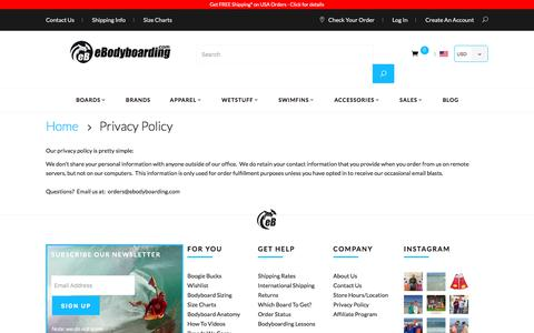 Screenshot of Privacy Page ebodyboarding.com - Privacy Policy - captured June 22, 2017