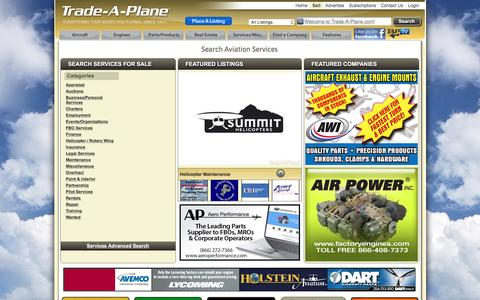 Screenshot of Services Page trade-a-plane.com - Search for Aircraft, Engines, Parts and Products, Aviation Services, and Aviation Real Estate for Sale and Rent at Trade-A-Plane.com - captured Jan. 19, 2016