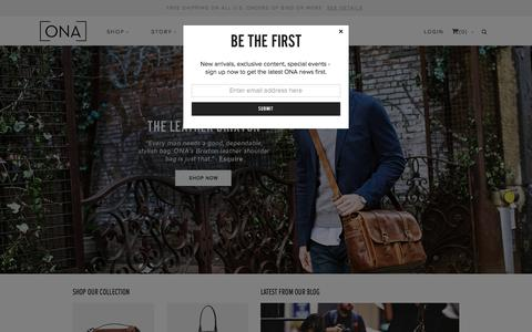 Screenshot of Home Page onabags.com - ONA | Fine Bags and Accessories | Stylish Camera Bags and Accessories - captured Sept. 18, 2015
