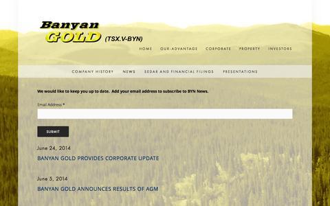 Screenshot of Press Page banyangold.com - News — Banyan Gold Corp. - captured Oct. 5, 2014