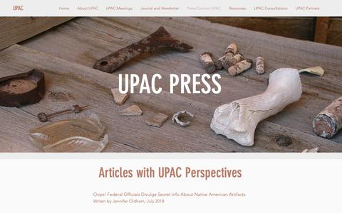 Screenshot of Press Page upaconline.org - UPAC | Press/Contact UPAC - captured Dec. 3, 2018