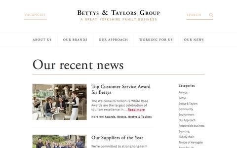 Screenshot of Press Page bettysandtaylors.co.uk - News – Bettys & Taylors - captured Nov. 22, 2016