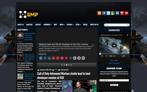 Screenshot of Home Page gamesmediapro.co.uk - GamesMediaPro - captured Sept. 29, 2014