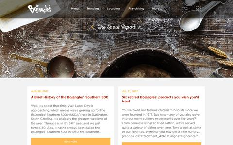 Screenshot of Blog bojangles.com - Bojangles' Famous Chicken 'n Biscuits | Blog - captured Aug. 29, 2017